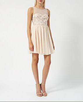 robe sequin rose poudrée