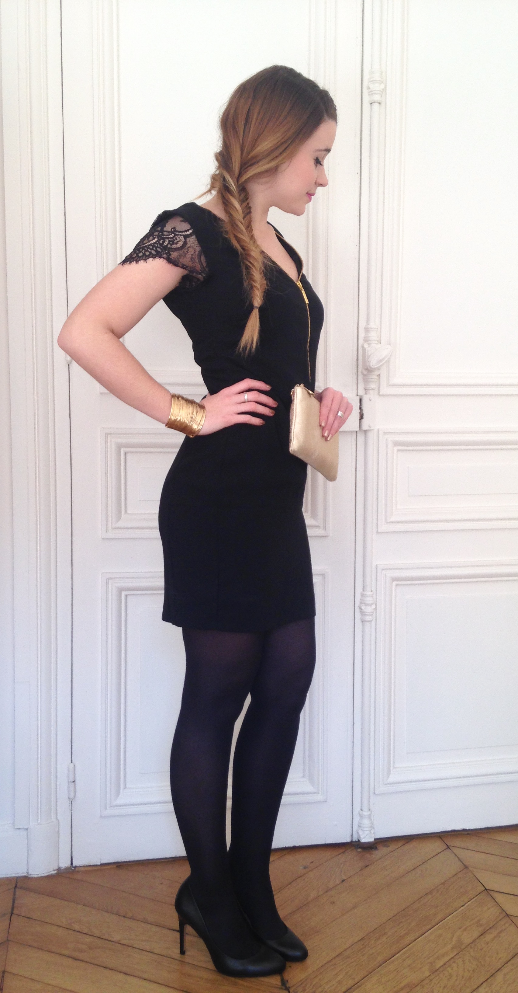 Robe de soiree collant noir ou chair