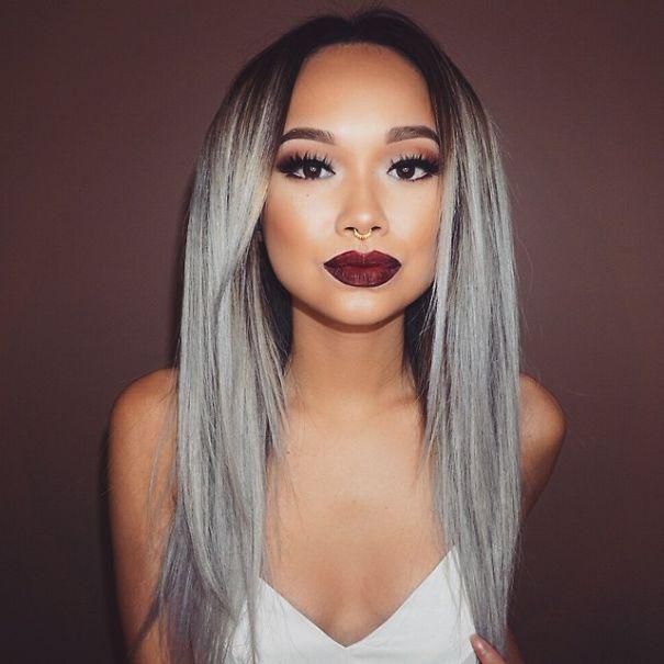 couleur de cheveux gris platine